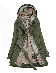 Women's Regular Parka Coat,Simple Casual/Daily Solid-Cotton Others Long Sleeves Hooded