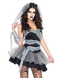 Fantasias Zombie Dia Das Bruxas Preto Patchwork Terylene Vestido / Mais Acessórios