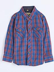 Menino de Camisa,Casual Houndstooth Algodão Outono Azul