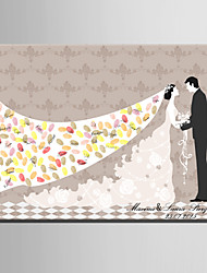 E-HOME® Personalized Fingerprint Painting Canvas Prints -The Bride And Broom(Includes 12 Ink Colors)