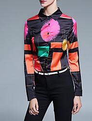 Vintage All Seasons Shirt,Print Shirt Collar Long Sleeve Yellow Purple Polyester Medium