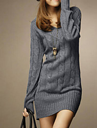 Women's Fashional V Neck Long Sleeve Slim Knitwear Dress