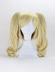 Mujer Pelucas sintéticas Sin Tapa Medio Rizado Rubio Con flequillo Con coleta Peluca de Halloween Peluca de carnaval Peluca de cosplay