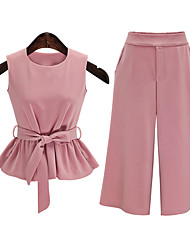 Women's Going out Simple Summer Blouse PantSolid Round Neck Sleeveless Pink Special Leather Types Opaque /