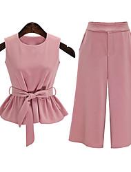 Chemisier Pantalon Costumes Femme,Couleur Pleine Sortie simple Eté Sans Manches Col Arrondi Rose Cuirs Particuliers Fin / Opaque