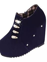 Women's Boots Fall Platform Fleece Casual Wedge Heel Platform Crystal Black Blue Other