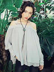 Aporia.As® Femme Col Arrondi Manche Longues T-shirt Gris-MZ08045