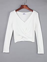 Damen Solide Einfach Lässig/Alltäglich T-shirt,V-Ausschnitt Herbst Ärmellos Weiß / Beige / Schwarz / Grau Baumwolle Mittel