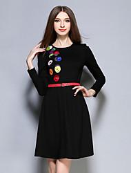 ainier occasionnel / journalier simple dresssolid gaine / print col rond féminin dessus du genou à manches longues noir