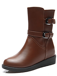 Women's Boots Winter Snow Boots Leatherette Party & Evening / Casual Flat Heel Others Black / Brown Snow Boots