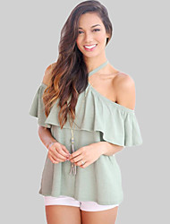 Women's Going out Sexy Summer T-shirtSolid Halter Short Sleeve White / Green Linen Thin