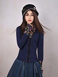 Tee-shirt Aux femmes,Fleur Sortie Vintage Printemps / Automne Manches Longues Col Arrondi Bleu Coton / Spandex Moyen