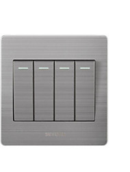 Four Open Single Control Silver Wall Switch