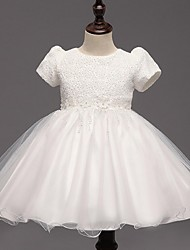 Flower Girl Dress Ball Gown Knee-length - Organza Short Sleeve Jewel with Bow(s)