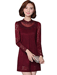 Spring Fall Women's Go out Casual Fashion Wild Solid Color Patchwork Stand Long Sleeve Lace Dress