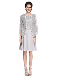 Sheath / Column Mother of the Bride Dress - Elegant Knee-length 3/4 Length Sleeve Chiffon / Lace with Lace