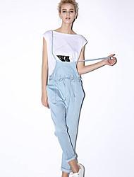 nouvelle avant solide jumpsuitssimple bleu sangle sans manches des femmes