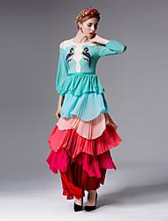Mujer Vaina Vestido Noche Bonito,Estampado / Bloques Escote Redondo Maxi 3/4 Manga Azul Poliéster Verano Tiro Medio Rígido Medio