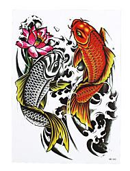1pc Water Transfer Body Waist Art Temporary Tattoo Sticker Women Men Fish Lotus Carp Waterproof Tattoo HB-343