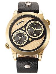 Men's Watches Fashion Quartz-Watch Genuine Leather Strap Waterproof Double Movement Watch Relogio Masculino