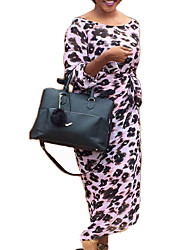 Women's Casual/Daily / Party/Cocktail Sexy Loose DressPolka Dot / Print U Neck Maxi Long Sleeve Pink / Multi-color
