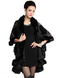 Women's Formal / Party/Cocktail Vintage / Sophisticated Long Cloak / CapesPlaid R Shawl Lapel  Sleeve Faux Fur