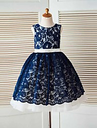 A-line Knee-length Flower Girl Dress - Lace / Tulle Sleeveless Jewel with Lace / Sash / Ribbon