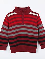 Jungen Pullover & Cardigan-Lässig/Alltäglich Gestreift Baumwolle Herbst Rot
