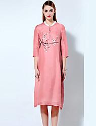 Женский На каждый день / Большие размеры Шинуазери (китайский стиль) Свободный силуэт Платье Цветочный принт,Воротник-стойка Выше колена