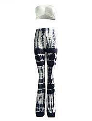 Women's Plus Size / Club Sexy Summer / Fall Tank Top PantPrint Strapless Sleeveless Black Spandex Medium set