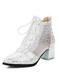 Damen-Stiefel-Lässig-PU-Blockabsatz-Modische Stiefel-Schwarz / Weiß