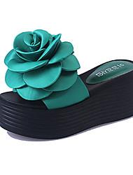 Women's Slippers & Flip-Flops Summer Slippers PU Casual Wedge Heel Flower Black / Green Others