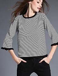 Damen Lang Pullover-Lässig/Alltäglich Einfach Gestreift Weiß / Grün Rundhalsausschnitt ¾-Arm Polyester Herbst Dünn Unelastisch