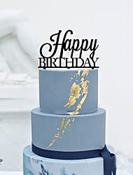 Decorações de Bolo Não-personalizado Monograma Acrilíco Aniversário Flôr Preto Tema Clássico 1 Caixa Oferta