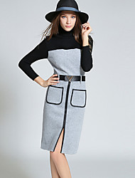 Women's Casual/Daily Vintage / Simple Sheath DressSolid Turtleneck Knee-length Long Sleeve Gray Polyester Fall