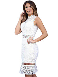 Women's Ruffle Hem Sleeveless Lace Midi Dress