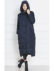 Women's Long Down Coat,Street chic Casual/Daily Solid-Others White Duck Down Long Sleeve Hooded