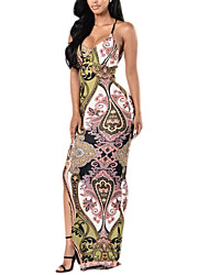 Women's Casual/Daily / Party/Cocktail Sexy Bodycon DressHoundstooth Strap Maxi / Mini Sleeveless Multi-color