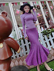 Women's Casual/Daily Street chic Fall Set Skirt Suits,Solid Turtleneck Long Sleeve Purple Polyester Medium