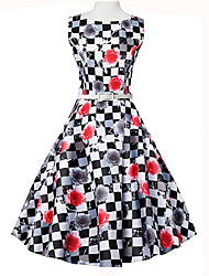 Women's Casual/Daily Street chic Sheath DressFloral / Plaid Round Neck Knee-length Sleeveless Summer High Rise Stretchy