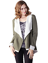Women's Casual/Daily Simple Spring / Fall JacketsSolid Round Neck Long Sleeve Brown / Green Cotton Medium