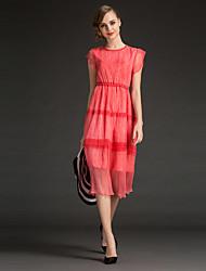 Damen Hülle Kleid-Ausgehen Einfach Solide Rundhalsausschnitt Midi Kurzarm Blau / Rot Seide / Baumwolle Sommer Mittlere Hüfthöhe