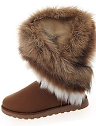 Women's Boots Winter Fashion Boots Fleece Casual Flat Heel Fur Black / Brown / Green Others