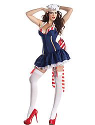Costumes de Cosplay / Costume de Soirée Cosplay Fête / Célébration Déguisement Halloween Bleu Couleur PleineRobe / Chapeau / Plus