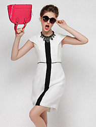 DREAMY LAND  Women's Formal Simple Sheath DressColor Block Round Neck Above Knee Short Sleeve White