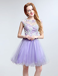 Cocktail Party Dress A-line Jewel Short / Mini Tulle with Appliques