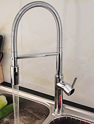 Deck Mounted Pullout Spray / Pre Rinse with Ceramic Valve Single Handle One Hole for Chrome , Kitchen Faucet