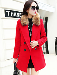 Women's Going out Street chic CoatSolid Notch Lapel Long Sleeve Fall / Winter Blue / Red Polyester / Raccoon Fur Medium