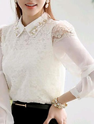 Women's Casual/Daily Simple Spring / Summer / Fall Blouse,Solid Shirt Collar Long Sleeve White Thin