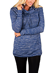 Damen Solide Retro Lässig/Alltäglich T-shirt,Kapuze Herbst / Winter Langarm Blau / Rot / Beige / Grau Baumwolle / Polyester Mittel